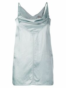 Rick Owens draped satin top - Blue