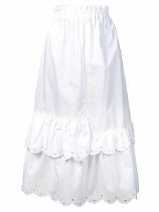 McQ Alexander McQueen scalloped hem midi skirt - White