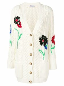 Red Valentino Red Valentino embroidered floral cable knit cardigan -