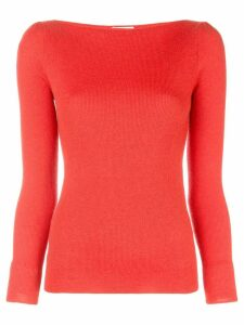 Co boat neck knitted jumper - Red