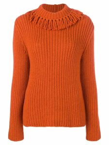 Bottega Veneta fringed neck sweater - ORANGE