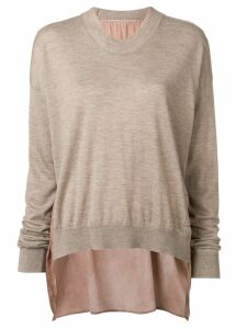 Uma Wang panelled colour block jumper - Brown