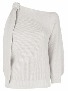 Brunello Cucinelli knit one sleeve sweater - Neutrals