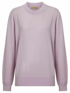 Burberry Logo Detail Merino Wool Sweater - PURPLE