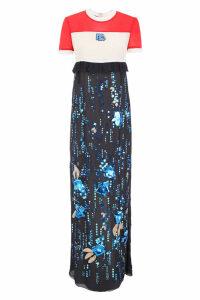 Prada Long Embroidered Chiffon Dress