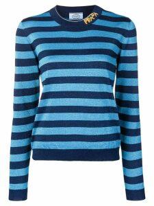 Prada striped logo knit sweater - Blue