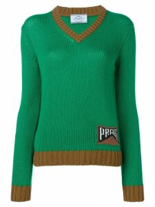 Prada logo intarsia jumper - Green