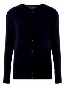 Womens **Tall Navy Button Cardigan- Blue, Blue