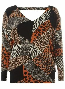 Womens Tall Black Animal Print Batwing Top, Black