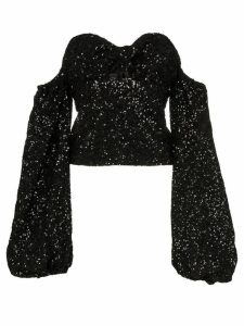 The Attico sequin puff-sleeve top - Black