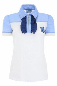 Prada Polo Shirt With Ruffles And Logo Patch