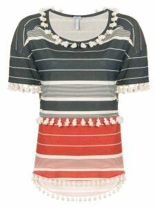 Loewe striped pompom T-shirt - Grey