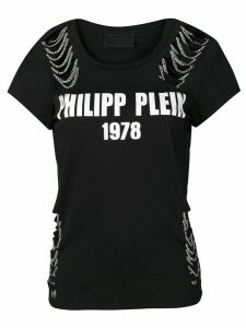 Philipp Plein distressed logo T-shirt - Black