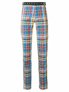 Marques'Almeida belted checked trousers - Blue
