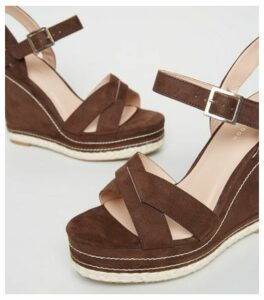 Rust Contrast Stitch Cross Strap Wedges New Look