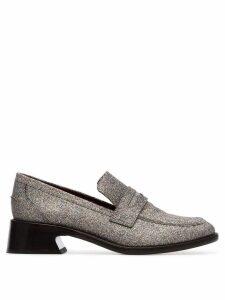 Sies Marjan metallic Eddie 35 glitter leather loafers - Silver