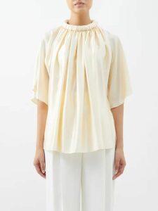 Lisa Marie Fernandez - Angel-sleeve Belted Cotton-blend Dress - Womens - Gold Multi