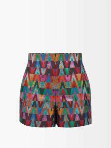 Lisa Marie Fernandez - Panelled Tiered Lamé Midi Dress - Womens - Gold Multi