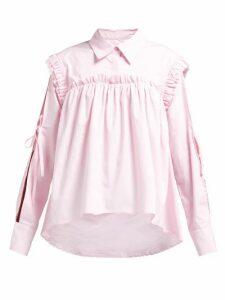 Preen Line - Ruffled Slit-sleeve Cotton Shirt - Womens - Light Pink
