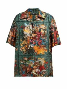 Edward Crutchley - Tapestry-print Shirt - Womens - Green Multi
