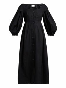 Isa Arfen - Portofino Balloon Sleeve Cotton Midi Dress - Womens - Black