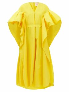 Valentino - High Rise Cotton Crepe Shorts - Womens - Denim