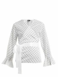 Pepper & Mayne - Dolce Polka Dot-print Chiffon Wrap Top - Womens - White Black