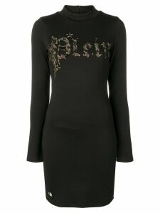 Philipp Plein leopard logo print dress - Black