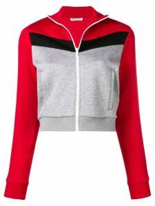Miu Miu cropped jersey jacket - Grey