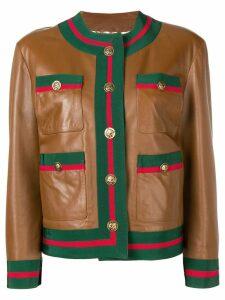 Gucci Web trim leather jacket - Brown