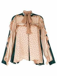 Sacai ruffle trim pussybow blouse - Neutrals