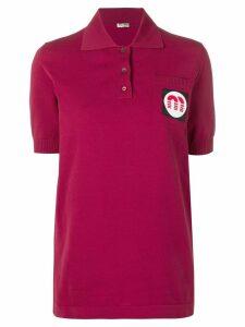 Miu Miu logo patch polo top - Red