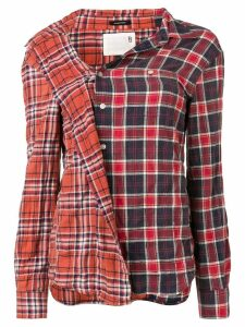 R13 checked button shirt - ORANGE