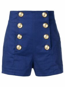 Balmain embossed button shorts - Blue