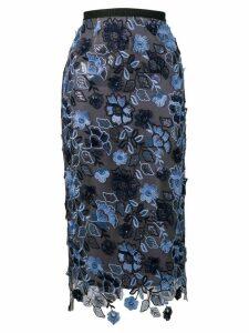 Antonio Marras floral embroidered pencil skirt - Grey