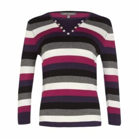 Multi Stripe Neck Detail Jumper