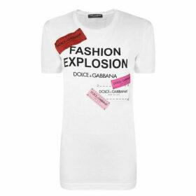Dolce and Gabbana Fashion Explosion Tape Logo T Shirt