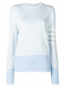 Thom Browne 4-Bar Bicolor Stripe Silk Pullover - Blue