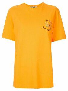 SJYP embroidered oversized T-shirt - ORANGE
