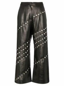 Matériel studded wide leg faux leather trousers - Black