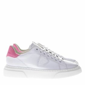 Philippe Model Temple Runner White Leather Sneakers Fuxia Suede