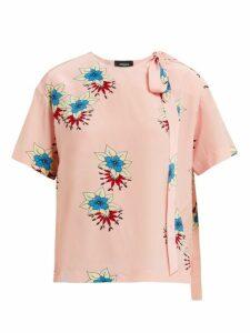 Rochas - Floral-print Silk Crepe De Chine Blouse - Womens - Pink Multi