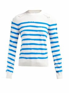 Barrie - Fancy Coast Striped Cashmere Sweater - Womens - Blue White