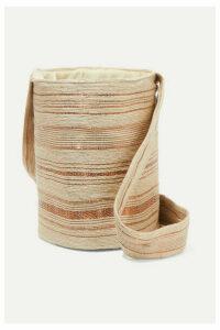VERDI - Woven Raffia And Copper Bucket Bag - Beige