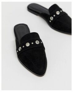 ASOS DESIGN Magpie pointed studded mules in black