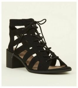 Black Suedette Cut Out Mid Heel Ghillie Sandals New Look