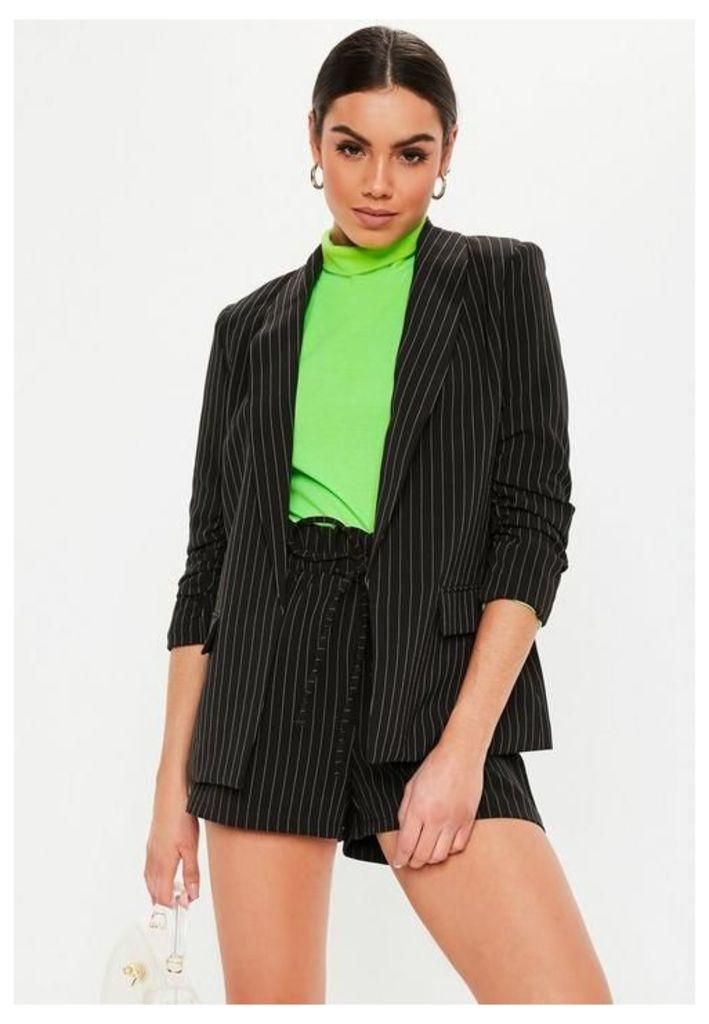 Black Pinstripe Gathered Sleeve Blazer, Black