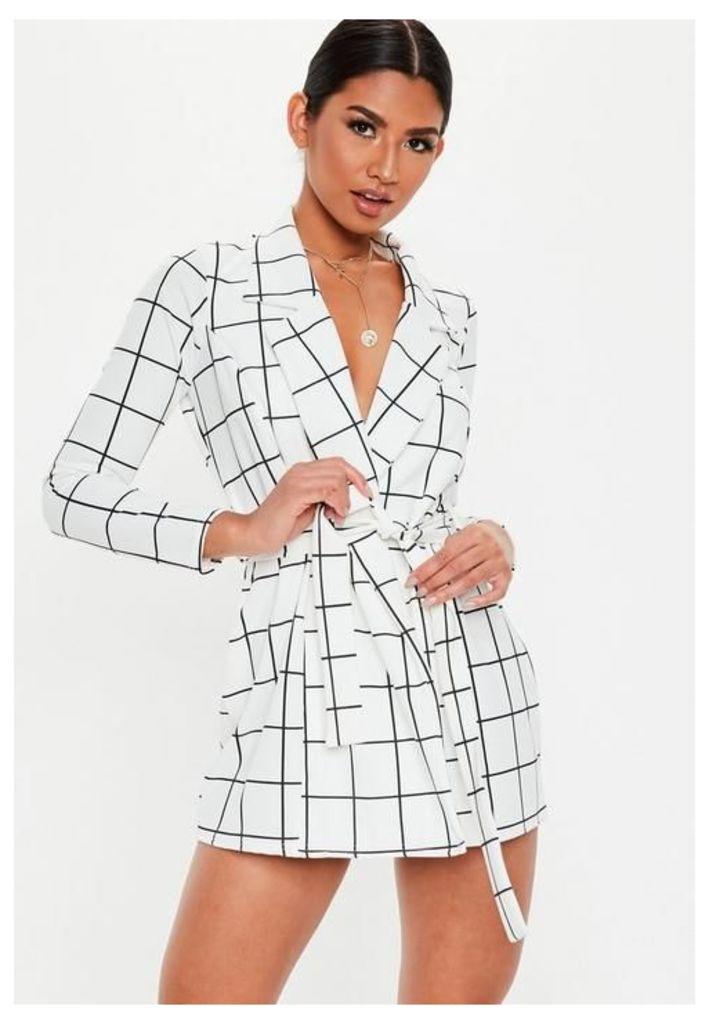 Petite White Grid Print Blazer Dress, White