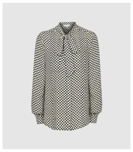 Reiss Caylee - Check Printed Blouse in Black/white, Womens, Size 14