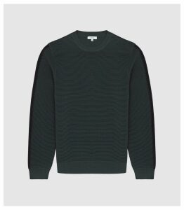 Reiss Iowa - Ribbed Crew Neck Jumper in Green, Mens, Size XXL